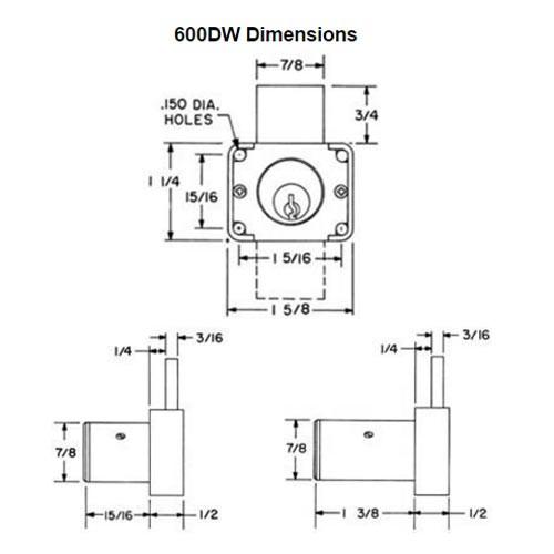 Olympus 600DW-KA4T3-26D-1-3/8 R Series Drawer Deadbolt Cabinet Locks in Satin Chrome