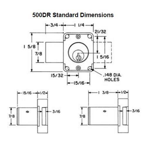 Olympus 500DR-KD-26D-1-3/8 R Series Door Deadbolt Cabinet Locks in Satin Chrome