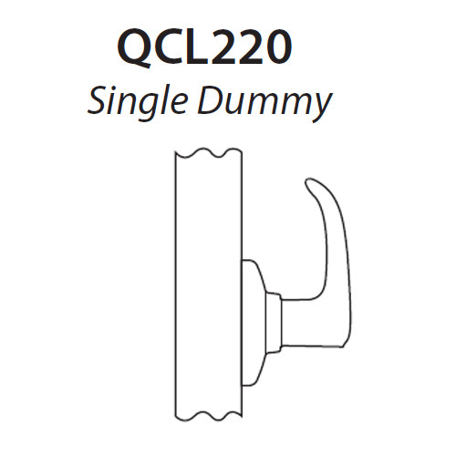 QCL220A605R4NOS Stanley QCL200 Series Single Dummy Cylindrical Lock with Slate Lever in Bright Brass