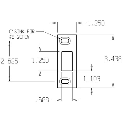 A-2-SDS-SL Don Jo Adjustable Strike Plate Dimensional View