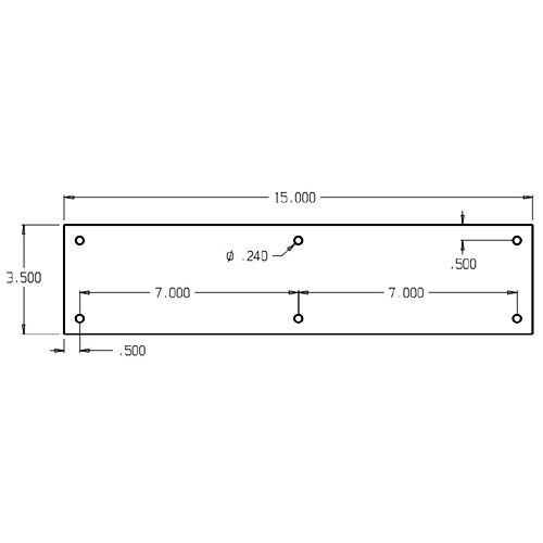 "70-626 Don Jo 0.50 Push Plate in 3-1/2 x 15"""