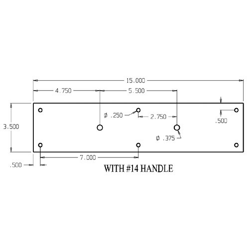 """7014-628 Don Jo Pull Plates with 3/4"""" Round Pulls and 5-1/2"""" center to center length"""