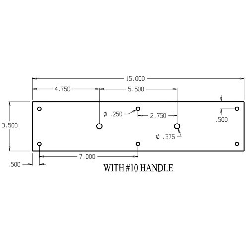 """7010-613 Don Jo Pull Plates with Cast Pull and 5-1/2"""" center to center length"""
