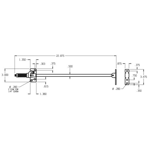 3212-630 Don Jo Surface Holder Dimensional View