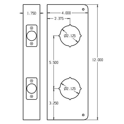 256-10B-CW Don Jo Classic Wrap Around Plate Dimensional View
