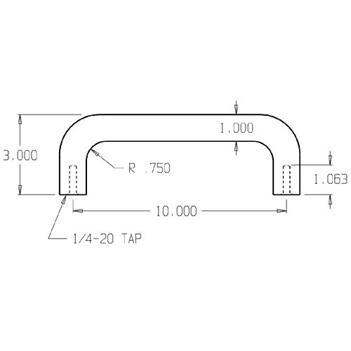 """20-630 Don Jo 1"""" Round Door Pull with 10"""" center to center length"""