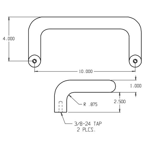 """1157-605 Don Jo Offset Door Pull with 10"""" center to center length"""