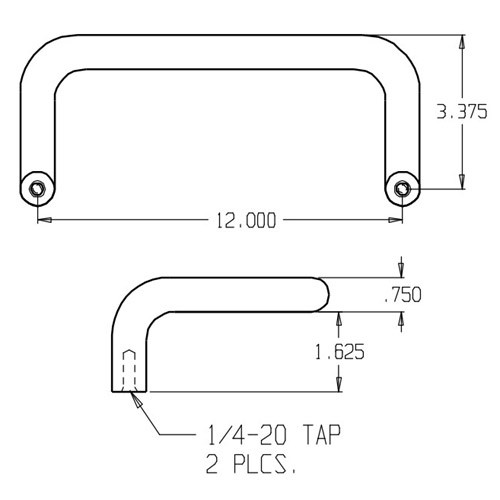 "1152-628 Don Jo Offset Door Pull with 12"" center to center length"