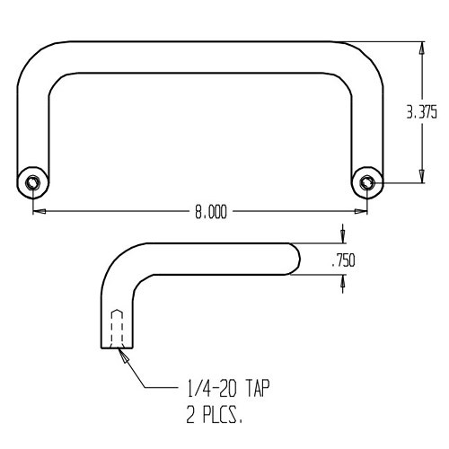 "1150-628 Don Jo Offset Door Pull with 8"" center to center length"