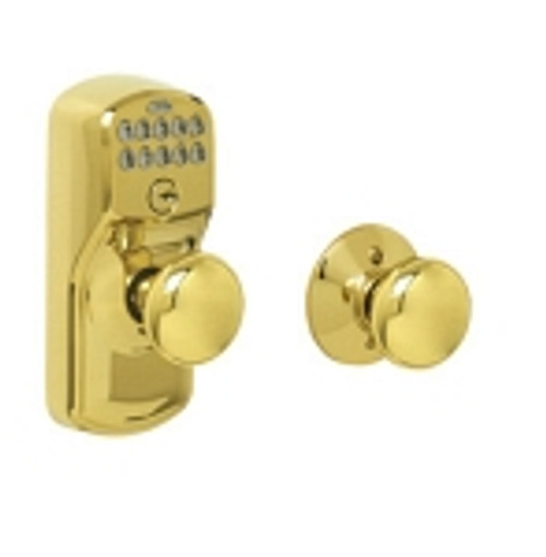 FE575-PLY-505-PLY Schlage Keypad Entry Auto-locks Series - Camelot Style Lock with Plymouth Knob in Ultima Bright Brass