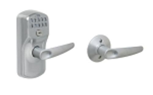 FE575-PLY-626-JAZ Schlage Keypad Entry Auto-locks Series - Camelot Style Lock with Jazz Lever in Satin Chrome