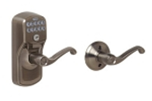FE575-PLY-620-FLA Schlage Keypad Entry Auto-locks Series - Camelot Style Lock with Flair Lever in Antique Pewter