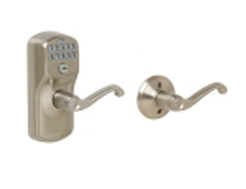 FE575-PLY-619-FLA Schlage Keypad Entry Auto-locks Series - Camelot Style Lock with Flair Lever in Satin Nickel