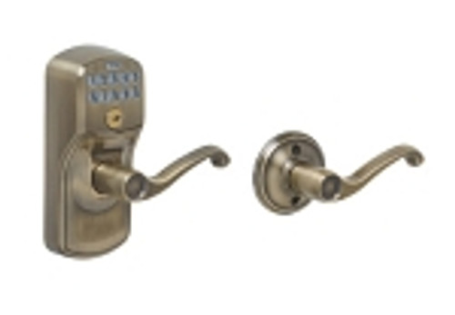 FE575-PLY-609-FLA Schlage Keypad Entry Auto-locks Series - Camelot Style Lock with Flair Lever in Antique Brass