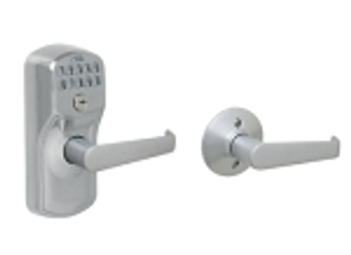FE575-PLY-626-ELA Schlage Keypad Entry Auto-locks Series - Camelot Style Lock with Elan Lever in Satin Chrome