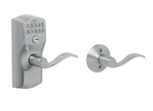 FE575-CAM-626-ACC Schlage Keypad Entry Auto-locks Series - Camelot Style Lock with Accent Lever in Satin Chrome