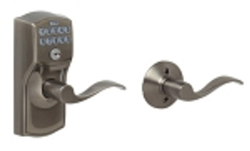FE575-CAM-620-ACC Schlage Keypad Entry Auto-locks Series - Camelot Style Lock with Accent Lever in Antique Pewter