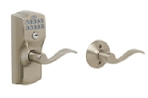 FE575-CAM-619-ACC Schlage Keypad Entry Auto-locks Series - Camelot Style Lock with Accent Lever in Satin Nickel
