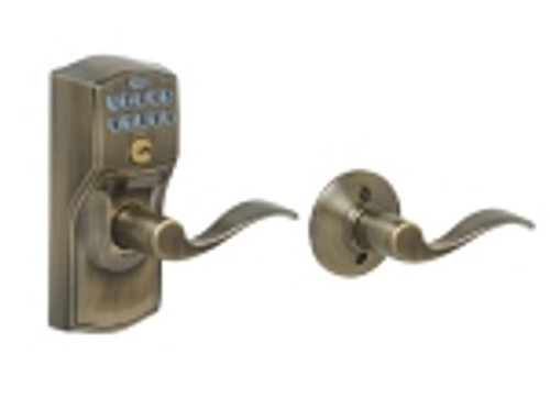FE575-CAM-609-ACC Schlage Keypad Entry Auto-locks Series - Camelot Style Lock with Accent Lever in Antique Brass