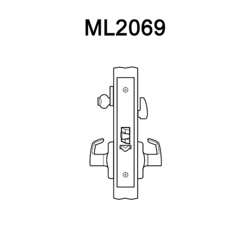 ML2069-LWA-618-LC Corbin Russwin ML2000 Series Mortise Institution Privacy Locksets with Lustra Lever in Bright Nickel
