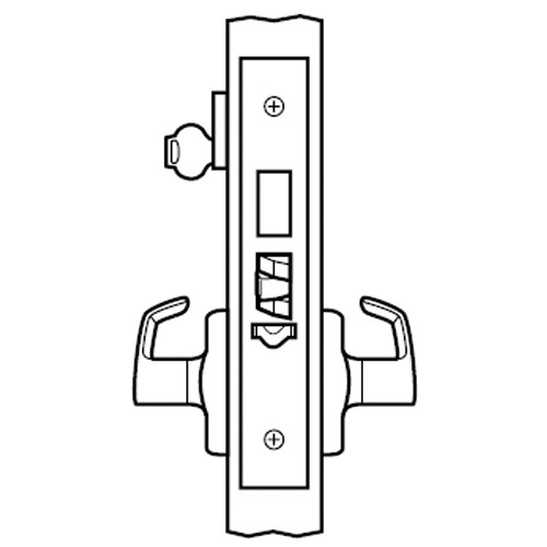 ML2073-LWA-605 Corbin Russwin ML2000 Series Mortise Classroom Security Locksets with Lustra Lever and Deadbolt in Bright Brass