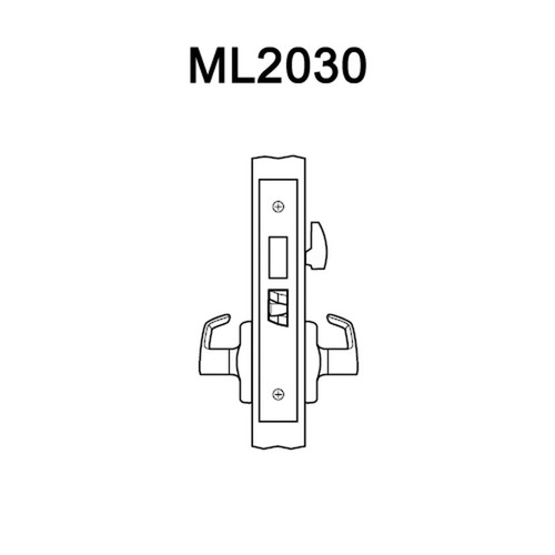 ML2030-RWA-605-M31 Corbin Russwin ML2000 Series Mortise Privacy Trim Pack with Regis Lever in Bright Brass