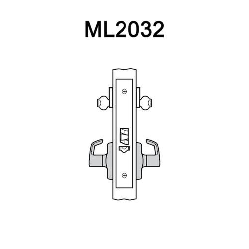 ML2032-RWA-606-LC Corbin Russwin ML2000 Series Mortise Institution Locksets with Regis Lever in Satin Brass