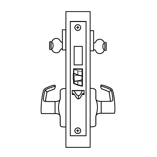 ML2072-LWB-605-CL6 Corbin Russwin ML2000 Series IC 6-Pin Less Core Mortise Classroom Intruder Locksets with Lustra Lever with Deadbolt in Bright Brass