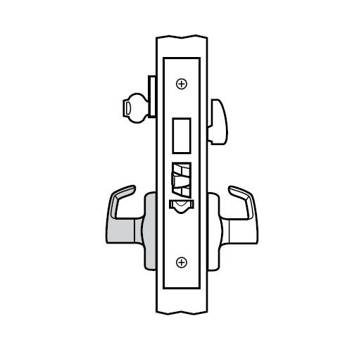 ML2029-LWF-629-M31 Corbin Russwin ML2000 Series Mortise Hotel Trim Pack with Lustra Lever and Deadbolt in Bright Stainless Steel