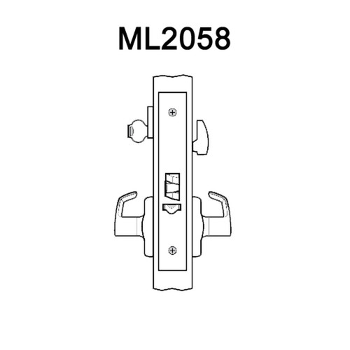 ML2058-ASA-630-LC Corbin Russwin ML2000 Series Mortise Entrance Holdback Locksets with Armstrong Lever in Satin Stainless