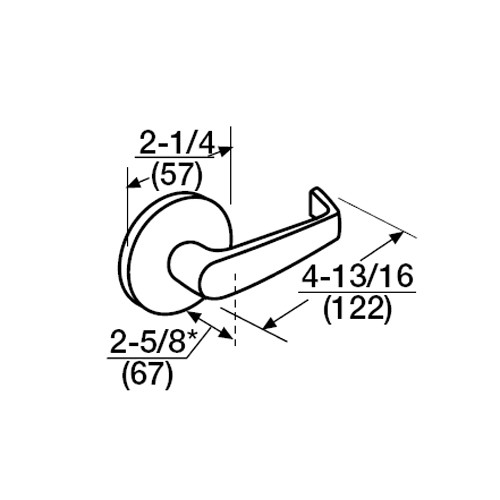 ML2092-NSB-618-M31 Corbin Russwin ML2000 Series Mortise Security Institution or Utility Trim Pack with Newport Lever with Deadbolt in Bright Nickel