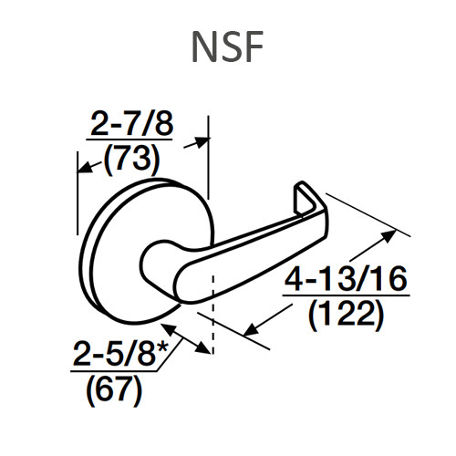 ML2092-NSF-619-M31 Corbin Russwin ML2000 Series Mortise Security Institution or Utility Trim Pack with Newport Lever with Deadbolt in Satin Nickel