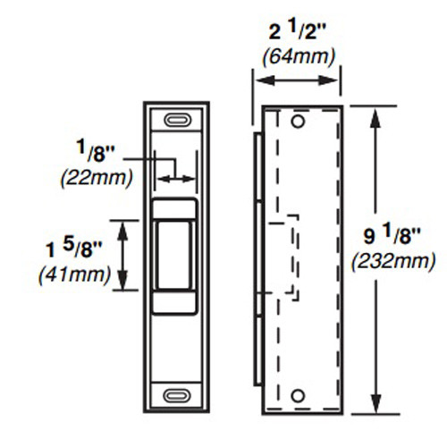 6121-FS-DS-LC-12VDC-US32D Von Duprin Electric Strike for Rim Exit Devices in Satin Stainless Steel Finish