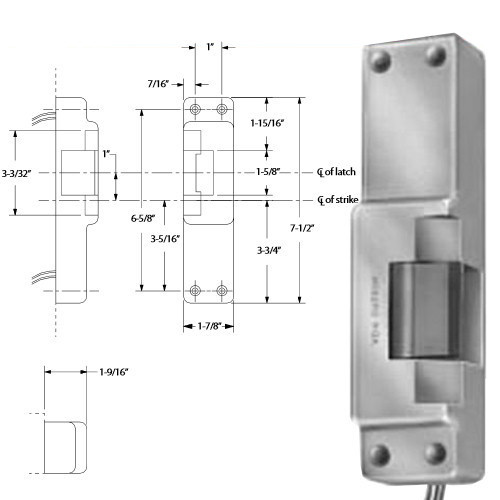 6114-DS-LC-12VDC-US32D Von Duprin Electric Strike in Satin Stainless Steel Finish