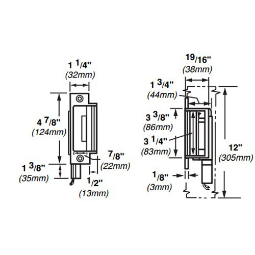 6210-DS-12VDC-US3 Von Duprin Electric Strike for Mortise Locks in Bright Brass Finish