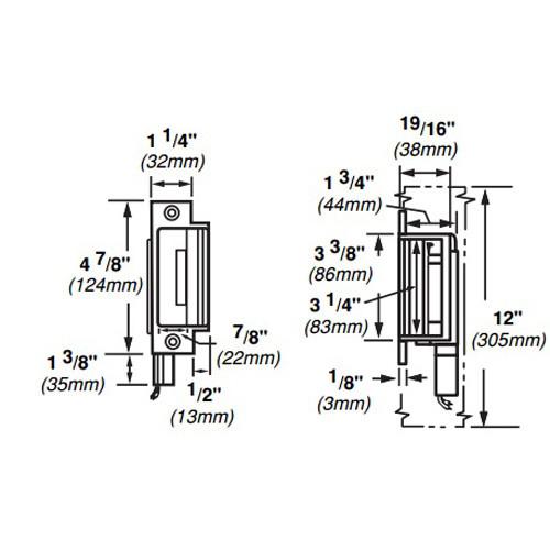 6210-FS-DS-12VDC-US4 Von Duprin Electric Strike for Mortise Locks in Satin Brass Finish