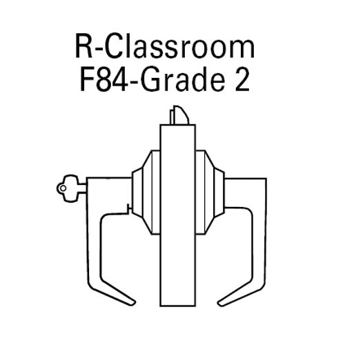 7KC57R14DSTK606 Best 7KC Series Classroom Medium Duty Cylindrical Lever Locks with Curved Return Design in Satin Brass