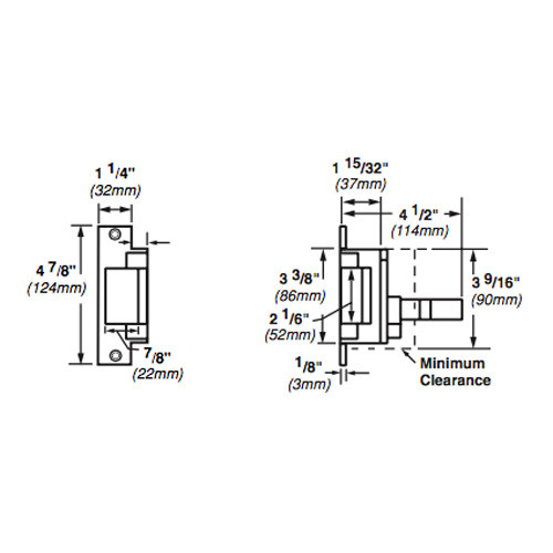 6211WF-FS-DS-LC-12VDC-US32 Von Duprin Electric Strike for Mortise or Cylindrical Devices in Bright Stainless Steel Finish