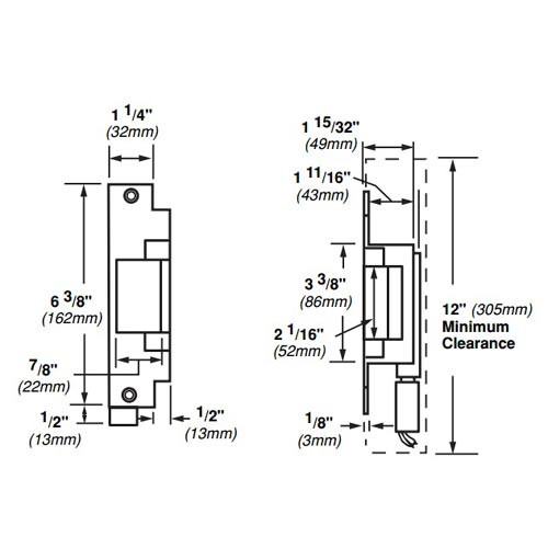 6212-12VDC-US3 Von Duprin Electric Strike for Mortise or Cylindrical Locksets in Bright Brass Finish