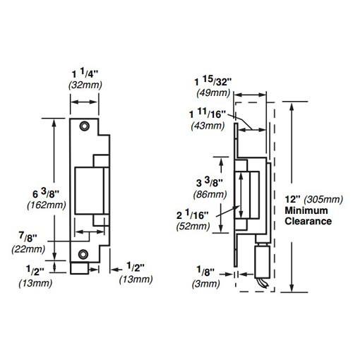 6212-FS-12VDC-US4 Von Duprin Electric Strike for Mortise or Cylindrical Locksets in Satin Brass Finish