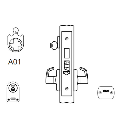 ML2073-NSP-629-CL7 Corbin Russwin ML2000 Series IC 7-Pin Less Core Mortise Classroom Security Locksets with Newport Lever and Deadbolt in Bright Stainless Steel