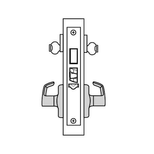 ML2092-NSP-605-CL7 Corbin Russwin ML2000 Series IC 7-Pin Less Core Mortise Security Institution or Utility Locksets with Newport Lever with Deadbolt in Bright Brass