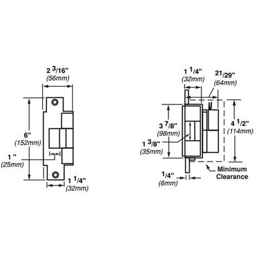 6213-FS-DS-24VDC-US10 Von Duprin Electric Strike for Mortise or Cylindrical Locksets in Satin Bronze Finish
