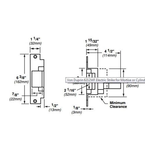 6212WF-FS-DS-12VDC-US4 Von Duprin Electric Strike for Mortise or Cylindrical Locksets in Satin Brass Finish