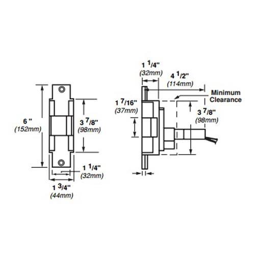 6221-12VDC-US4 Von Duprin Electric Strike for Mortise or Cylindrical Locksets in Satin Brass Finish