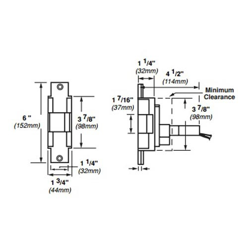 6221-FS-12VDC-US4 Von Duprin Electric Strike for Mortise or Cylindrical Locksets in Satin Brass Finish