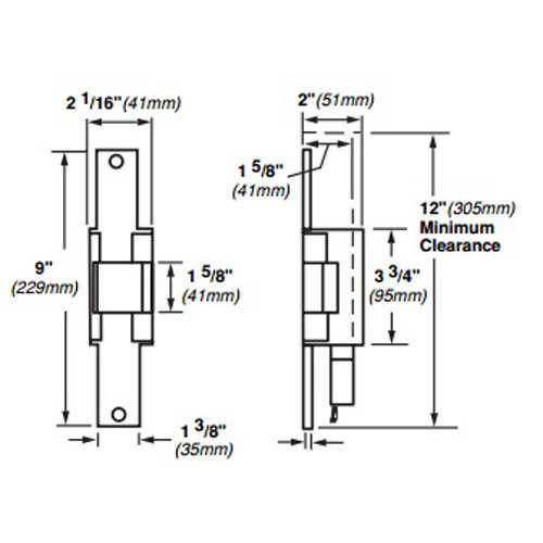 6222-FS-12VDC-US3 Von Duprin Electric Strike for Mortise or Cylindrical Locksets in Bright Brass Finish
