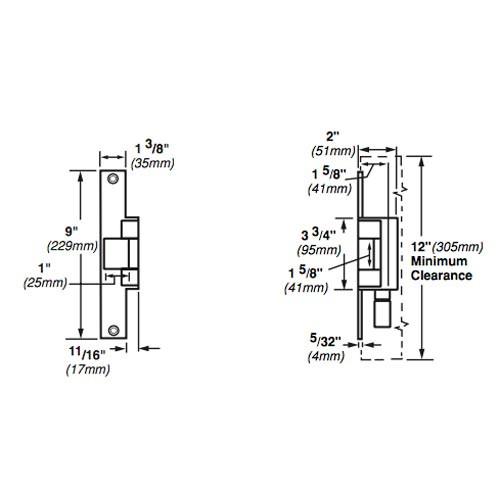 6214-FS-DS-12VDC-US10B Von Duprin Electric Strike for Mortise or Cylindrical Locksets in Dark Bronze Finish