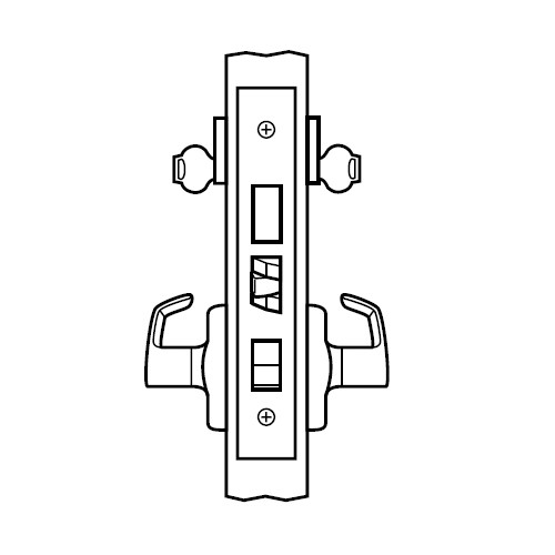 ML2082-PSP-618-CL6 Corbin Russwin ML2000 Series IC 6-Pin Less Core Mortise Dormitory or Exit Locksets with Princeton Lever with Deadbolt in Bright Nickel