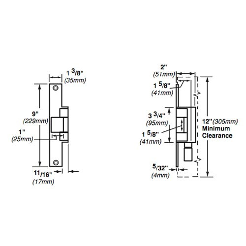 6214-FS-DS-LC-12VDC-US32 Von Duprin Electric Strike for Mortise or Cylindrical Locksets in Bright Stainless Steel Finish
